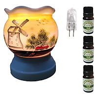 3 tinh dầu quế Eco 10ml và đèn xông tinh dầu size L AH13 và 1 bóng đèn