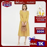 Đầm dáng xòe nữ thiết kế cổ tim kết hợp tay dài rã cúp GUMAC DB502