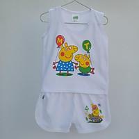 Combo 5 bộ đồ 3 lỗ trắng cho bé trai (4 - 10kg) mặc thoáng mát - Giao họa tiết ngẫu nhiên
