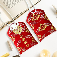 Túi gấm Omamori tất thắng đỏ họa tiết lá có kèm túi chống nước Túi Phước May Mắn dây treo trang trí