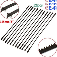 """12x 5"""" (125mm) Pinned Scroll Saw Blades Woodworking Power Tools Accessories"""