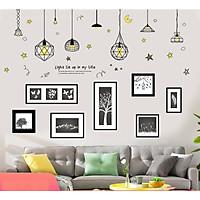 Decal dán tường nghệ thuật bóng đèn phát sáng và khung tranh trắng đen