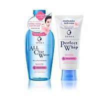 Combo Nước tẩy trang Senka All Clear Water Micellar Formula White và Sữa rửa mặt tạo bọt làm sạch sâu và sáng mịn Senka Perfect whip White (230ml + 100g)
