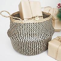 Giỏ cói đựng đồ hoạ tiết đan sọc tự nhiên phong cách hiện đại tối giản