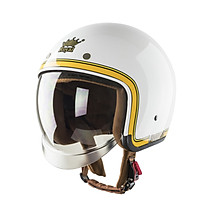 Nón bảo hiểm Royal M139 kính âm V10 trắng line vàng