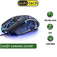 Chuột máy tính gaming SIDOTECH G5S chuyên chơi game Esport đèn Led Rgb / 6 Nút Bấm / DPI 3200 / tuổi thọ 30 triệu lần click cao thiết kế công thái học cho game thủ streamer FPS Moba lướt web thiết kế làm việc văn phòng tương  - Hàng chính hãng