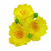 Hoa mai, hoa đào giả trang trí tết vỉ gồm 40 bông kèm kẽm và lá