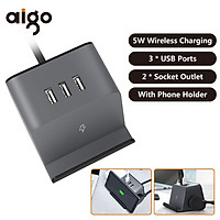 Aigo 5W Wireless Charger Socket With Phone Bracket Holder 3 USB Ports Extended Line Sockets 3D Mini Power Strip Socket