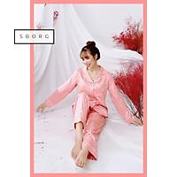 Đồ bộ mặc nhà SBORG bộ ngủ nữ pijama lụa gấm họa tiết sang trọng áo dài tay thanh lịch có túi quần sâu bigsize 45-75kg đồ đôi mẹ và con gái thoải mái mặc nhà và đi ra ngoài