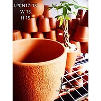 Chậu gốm đất nung kiểu TRỨNG VÂN HOA HỒNG size 15cm LPCN17-15 (1 cái) - Màu gốm đỏ , chậu trồng cây, gốm sứ sân vườn Bìn
