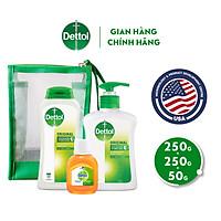 Combo bảo vệ kháng khuẩn toàn diện Dettol (Sữa tắm 250g + Nước rửa tay 250g + Dung dịch diệt khuẩn 50g)