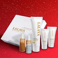 Bộ sản phẩm dưỡng da mini cao cấp 5 món: Serum dưỡng trắng da, Serum giảm mụn, Kem dưỡng da mặt chuyên sâu ngày, đêm và kem body giúp chăm sóc và bảo vệ da toàn diện LALAYA - LLYT5