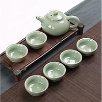 Bộ ấm tách trà gốm sứ tráng men hoa văn rạn cổ 7 món