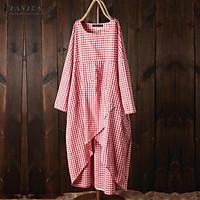 ZANZEA Women Long Sleeve Plaid Check Long Shirt Dress Loose Ethnic Midi Dress Plus Size