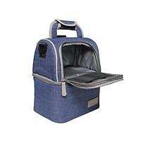 Túi giữ nhiệt giữ lạnh đựng hộp cơm đồ uống 2 ngăn riêng biệt có khóa kéo vải dù chống thấm nước cao cấp kích thước 27 x 22 x 15cm có quai đeo tiện lợi thời trang - giao màu ngẫu nhiên