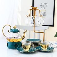 Bộ ấm trà nến xanh cổ vịt kèm kệ treo chén