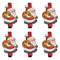 Bộ 6 Kẹp Ảnh Gỗ Trang Trí Giáng Sinh - Ông Già Noel Đeo Túi Quà