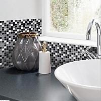 Black and White Mosaic Tile Sticker Kitchen Bathroom Floor Wall Decoration