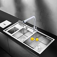 Chậu rửa chén cao cấp 3 hố RANOX + Vòi 3 đường nước RN4493