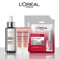 Bộ sản phẩm L'Oreal Paris Tinh chất giảm da giảm thâm nám,Mặt nạ cấp ẩm dưỡng trắng da và Kem chống nắng bảo vệ da (WPC serum,Mask x3,UV Rosy 15ml x2)