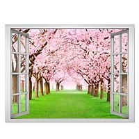 Decal cửa sổ cảnh đẹp hoa anh đào VT0024