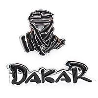 Set 2 sticker hình dán metal Dakar Bạc 3D