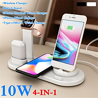 4 in 1Qi Wireless Charging Pad Quick Fast Charger Base Plate For iPhone11 Pro Max Galaxy S10 / Note10 etc For Headset iWatch Stand