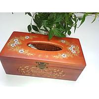 Hộp đựng giấy ăn bằng gỗ hương đỏ loại 1.