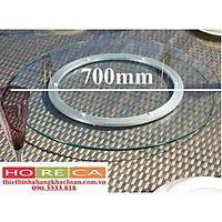 bộ mâm xoay bàn ăn 700mm bao gồm đế nhôm 350mm, mặt kính cường lực 700mm dày 10ly,mài bóng cạnh,kính trong suốt