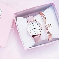 Đồng hồ thời trang nữ Cd1, dây da nhung mặt số - không kèm vòng tay