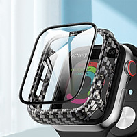 Ốp Case Vân Carbon Kính Cường Lực cho Apple Watch Series 4/5/6/SE (Size 40mm/44mm)
