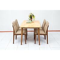 Bộ bàn ăn 4 ghế Nội Thất Nhà Bên NAN 05 (Nâu)