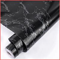 Giấy dán tường vân đá hoa cương đen có keo sẵn khổ rộng 45cm, decal giấy dán tường giả đá hoa cương màu đen sang trọng