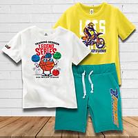 Combo Quần Rider + 2 áo bé trai màu trắng và vàng thương hiệu TAMOD cao cấp.
