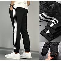 Quần dài thể thao nam, jogger 3 sọc ống bo có khóa túi size đại hơn 80kg