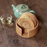 Bộ lót ly tròn làm từ guột và cói đan tay 100% (Bộ 6 chiếc)