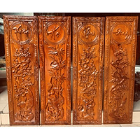 Tranh tứ quý XUÂN HẠ THU ĐÔNG gỗ Gõ đỏ 30x127cm
