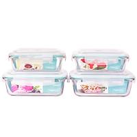 Bộ 4 Hộp Thủy Tinh Chịu Nhiệt Nắp Gài Hình Chữ Nhật Glass Happy Cook HCG-04R (2 x 640ml - 2 x 1040ml)