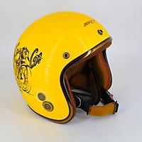 Mũ bảo hiểm 3/4 đầu SRT viền đồng lót nâu cao cấp có thông gió + Tem Reces cafe  phượt siêu chất - Màu Vàng