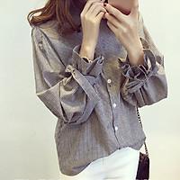 Striped Pattern Bow Women Blouse Korean Style Gray Lapel Lantern Sleeve Shirt Autumn Winter New