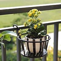 Giá kim loại để chậu hoa, cây cảnh mini có móc treo ban công tiện lợi - ĐEN