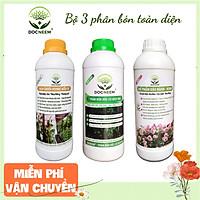 Combo Phân bón toàn diện Đậu tương Humic, Dịch chuối, Kích Hoa (3 lít), thương hiệu Docneem, cung cấp dinh dưỡng chuyên biệt cho từng giai đoạn phát triển của cây kiểng, hoa hồng, hoa lan, nguồn gốc hữu cơ, an toàn dễ sử dụng