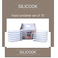 CHÍNH HÃNG SILICOOK Bộ 10 hộp Được sản xuất tại Hàn Quốc nhựa trong suốt để bảo quản thực phẩm trong