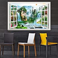 Bức tranh dán tường cửa sổ 3D in trên giấy ảnh với 2 lựa chọn bề mặt cán PVC gương hoặc cán bóng, mã số: 00400637L11