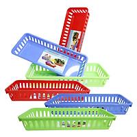 Combo 6 rổ nhựa chữ nhật 31.5 x 12.5 x 5.2 cm Chấn Thuận Thành đựng đồ, đựng rau củ, đựng văn phòng phẩm hàng Việt Nam chất lượng cao (RCN31520-6) nhiều màu