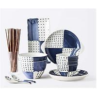 Set bát đĩa kiểu dáng Nhật màu xanh dành cho 4 người ăn