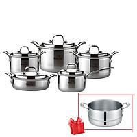 Bộ nồi nhà bếp Inox hiệu PoongNyun WTPIHV - TẶNG KÈM XỬNG INOX POONGNYUN WTPIH-ST 24C