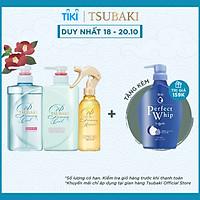 Bộ Ba Gội Xả Tsubaki Premium Cool Sạch Dầu Mát Lạnh (490ml/chai) và Xịt Dưỡng Tóc 220ml