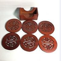 Bộ đế lót ly gỗ hương 6 chiếc đục chữ phúc MẪU TRÒN siêu đẹp - ảnh thật