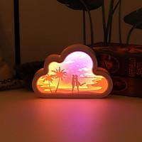 đèn ngủ khắc giấy 3D Kết hợp với dải đèn LED, tiêu thụ điện năng thấp Hỗ trợ USB